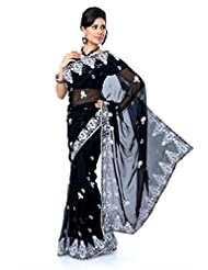 Designersareez Women Chiffon Embroidered Black Saree With Unstitched Blouse(1412)