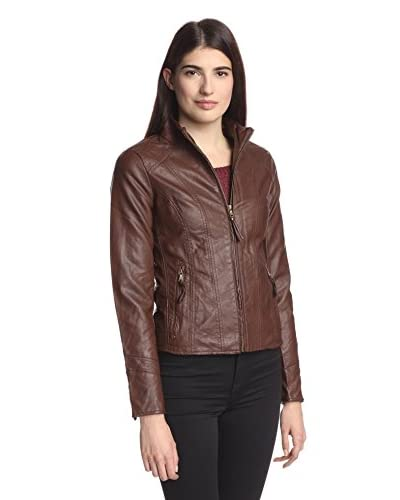 Moka Women's Zip Front Faux Leather Jacket