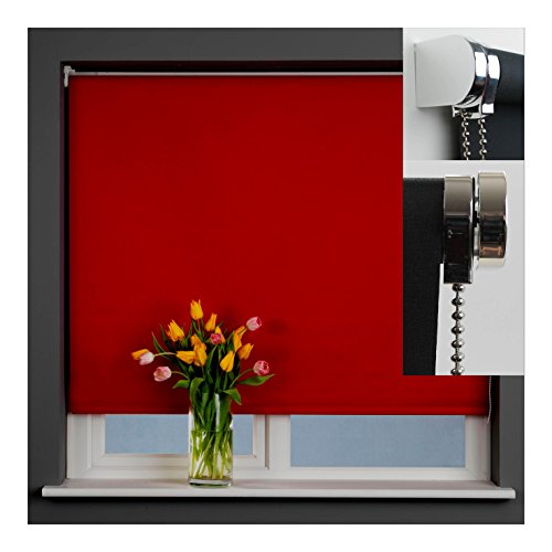 Designer Deep Red roller blind 100% Blackout Thermal fabric with silver chrome fitting kit (120cm)