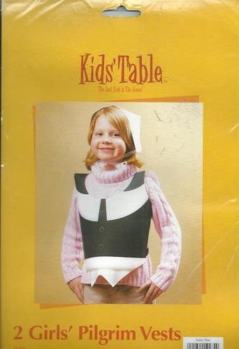 Thanksgiving Fall Kids Table Girls Pilgrim Vests Party Celebration Dinner 2 Pk