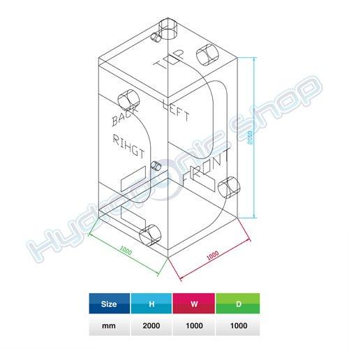 Hydroponic Grow Room Tent 100x100x200 cm Silver Mylar PVC Free