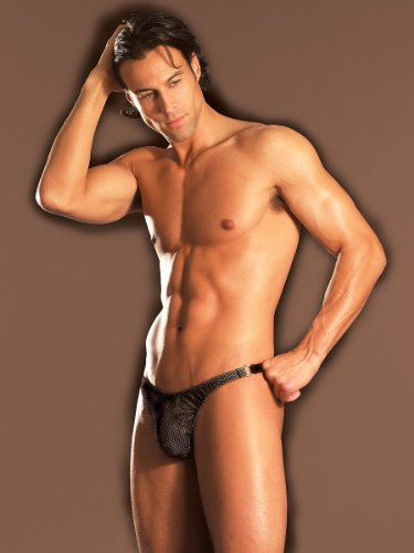 Mens Fishnet Thong Black