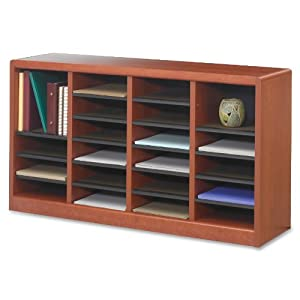 Safco Products E-Z Stor Wood Literature Organizer, 24 Compartments, Cherry, 9311CY