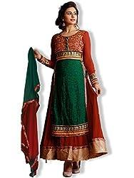 Orange Fab Women's Wedding Wear Semi stitched Anarkali Suit Dress Material