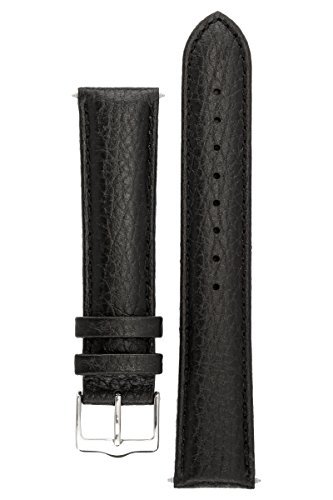 signature-buffalo-in-black-20-mm-watch-band-replacement-watch-strap-genuine-leather-silver-buckle