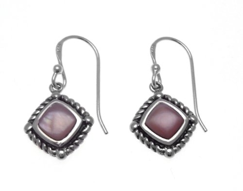 Silver Drop Earrings Set with Pink Mother-of-Pearl
