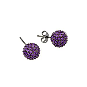 10mm Black Rhodium Plated 925 Sterling Silver Micro Pave Set Purple Cubic Zirconica CZ Round Ball Push-Back Earrings