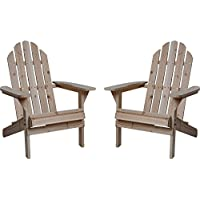 Twin Pack Fir Wood Adirondack Chairs (Natural)