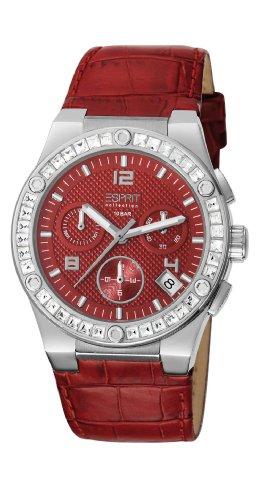 ESPRIT Collection EL101822F05 - Reloj cronógrafo de cuarzo para mujer con correa de piel, color rojo