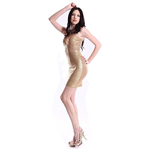 Фото Whoinshop Gold Sexy V-neck Sleeveless Bandage Cocktail Evening Dress Party Clubwear
