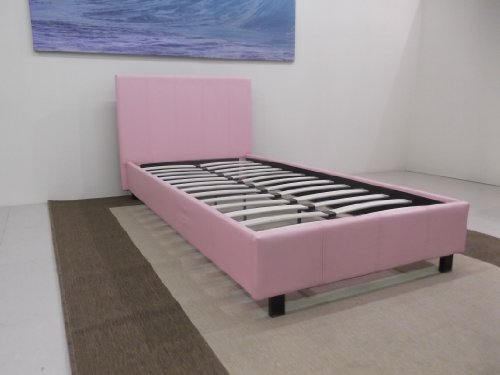 3ft Faux Leather Single Bed Frame in Black Brown White or Pink By Bedsandbeds (Pink)