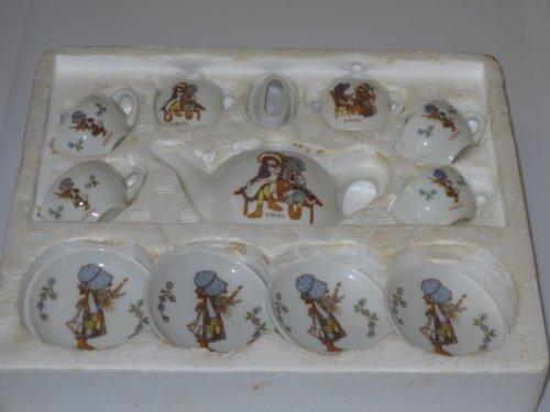 Htf 1988 Holly Hobbie Child'S China Tea Set -- 12 Pieces