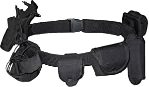 Kenley Security Military Tactical Belt System - 7 Functional Pouches - Black