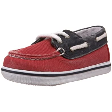 Sperry Top-Sider Bahama Boat Shoe (Infant/Toddler),Red/Navy,4 M US Toddler