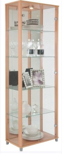 Beech Double Glass Door Display Cabinet with 4 Moveable Glass Shelves & Spotlight