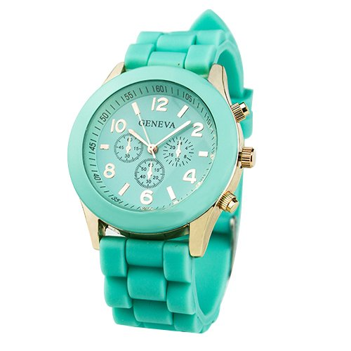 Unisex Geneva Silicone Jelly Gel Quartz Analog Sports Wrist Watch Mint Green