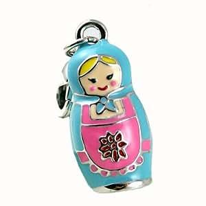 Pink Blue Blond Russian Matrioshka Doll Girl Enamel Clip on Bracelet Pendant Charm