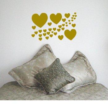 CASCADE OF HEARTS - Love Girl Design - Vinyl Wall Room Decal Sticker #W002   Color: Satin Gold