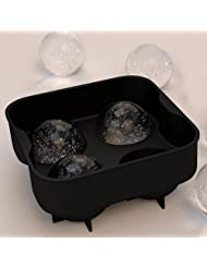 "ROX Sphere Ice Ball Maker - Classic Black Silicone Ice Ball Mold with 4 X 2"" Ball Capacity Tray. Flexible Round..."