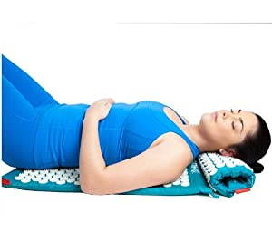 Spoonk Cotton Combo - Acupressure Massage Mat Eco Foam + Spoonk Travel Size Mat and Pillow - Oprah Magazine O List January 2013 (Cotton Pagoda Blue)