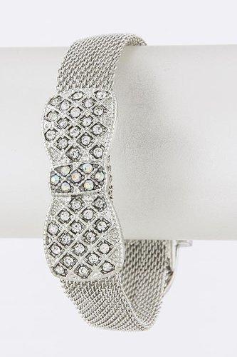 Karmas Canvas Crystal Bow Buckle Bracelet (Silver) front-220642