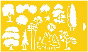 30cm x 17.5cm Reusable Flexible Plastic Stencil for Cake Design Decorating Wall Home Furniture Fabric Canvas Decorations Airbrush Drawing Drafting Template - 1:100 Scale Trees Landscape Scenario Garden Forest Design Shapes