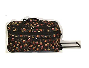 "Black 27""Owl Print 2 Wheeled Luggage Suitcase Trolley Bag"