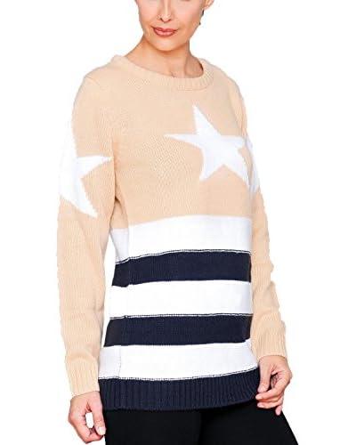 HHG Pullover beige/marine/weiß