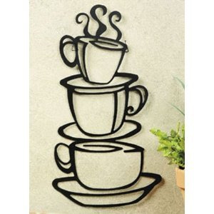 Home Decor  on Coffee House Cup Java Silhouette Wall Art Metal Mug  Home   Kitchen