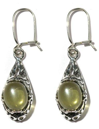 Sterling Silver Filigree Caribbean Amber Dangle Earrings