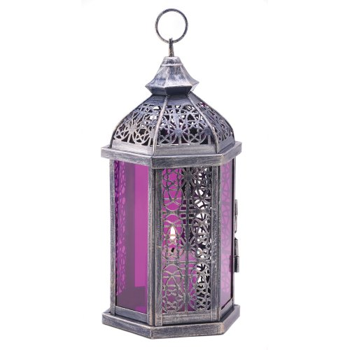 Gifts & Decor Antique Pewter Finish Enchanted Amethyst Candle Lantern