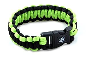 Paracord Large Survival Bracelet ZOMBIE Green & Black Military Airsoft Paintball Cobra Weave