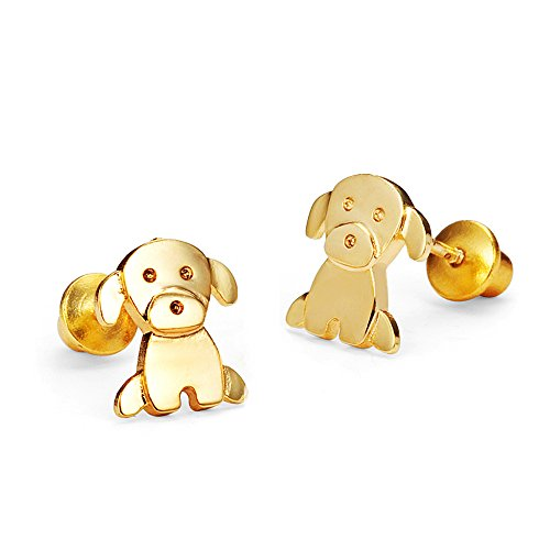 14k-Gold-Plated-Baby-Puppy-Screwback-Girls-Earrings-with-Sterling-Silver-Post
