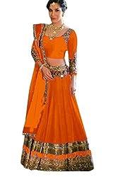 Khazanakart Designer Pink Color Banglori Fabric Un-stitched Lehenga Choli With Chiffon Dupatta Material.