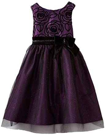Bloome Big Girls' Flocked Special Occasion Dress, Purple, 10