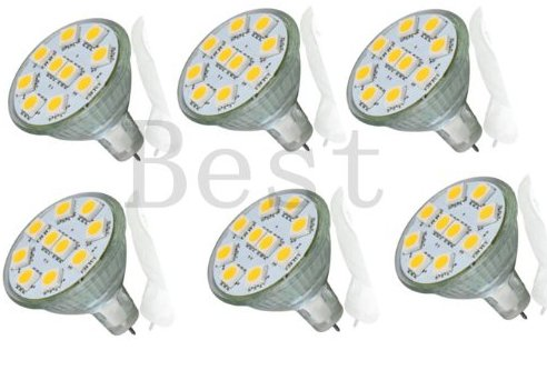 Best To Buy® (6-Pack) Brightest Mr11 12V 10 Smd Led Bulb Wide Angle