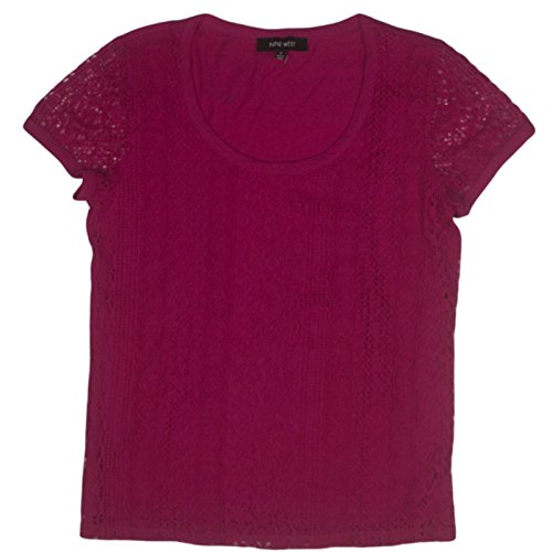 Nine West Lace Front Knit Top Shirt Blouse Short Sleeve Rose Pink (Small)