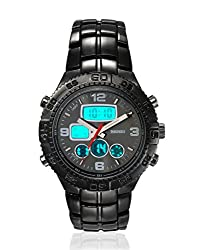 Skmei Sports Stainless Steel Water Resistant in 30m depth Analogue Digital Mens Watch- AD1030-Black