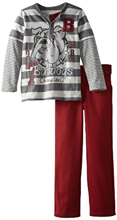 Little Rebels Little Boys' 2 Piece Bulldogs Pant And Pullover, Gray, 5