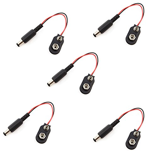 5 Pieces of 2.1 X 5.5mm Male Dc Plug to 9V Battery Clip Snap Accessories Compatible With Arduino by Atomic Market