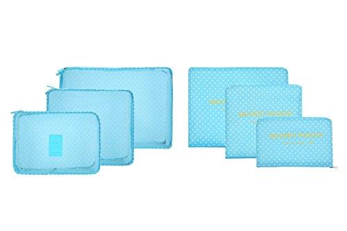 6pcs/set impermeabile vestiti Storage Bags imballaggio Cube valigia da viaggio borsa Organizer blu Blue point