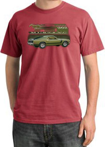 Ford Car 1970 Mustang Boss 302 Classic Adult Pigment Dyed T-Shirt Tee - Dashing Red, Large