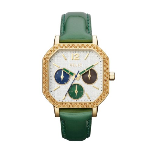 Relic by Fossil Auburn Gold Tone Green Leather Womens Watch ZR15684 at Amazon.com