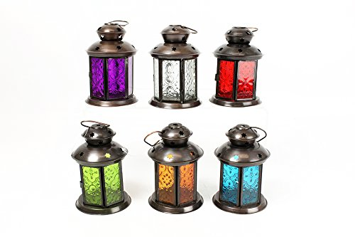 Lanterna in metallo Orientale etnica - porta lumino candela tea candle
