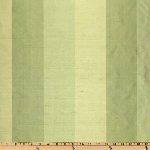 54'' Wide Dupioni Silk Tri-Color Stripe Limes Fabric By The Yard