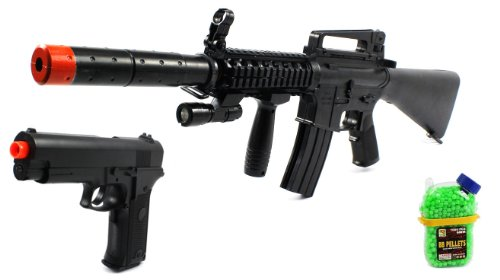 (Combo) Black Guard M16-A1+ Spring Airsoft Gun Fps-250 + Special Ops Electric Blowback Airsoft Pistol Full Auto Fps-180 + 1000 Bb'S Clip-On Holster Container