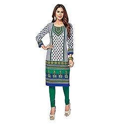 Stylish Girls Women Cotton Printed Unstitched Kurti Fabric (SG_K1015_White_Free Size)