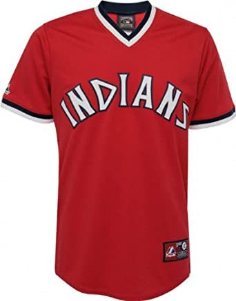 MLB Majestic Cleveland Indians Cooperstown Throwback Replica Jersey - Red by Majestic