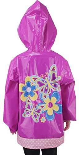 Little Girl's Pink Flower Raincoat - Size 7