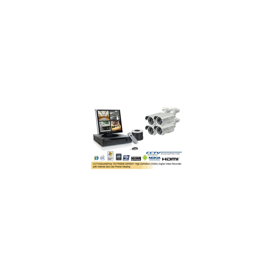 EAGLE EYE (260 FOOT IN DARKNESS) EXTREME SERIES EAGLE EYE Complete High Definition (HDMI) 4 Camera Color Sony Super HAD Bullet Camera   700 Lines   6mm 60mm Super Long Range Lens Security Camera System (Up to 260 Feet in Total Darkness)